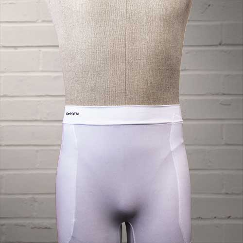 GeriHip Hip Protector Briefs in White displayed on a mannequin