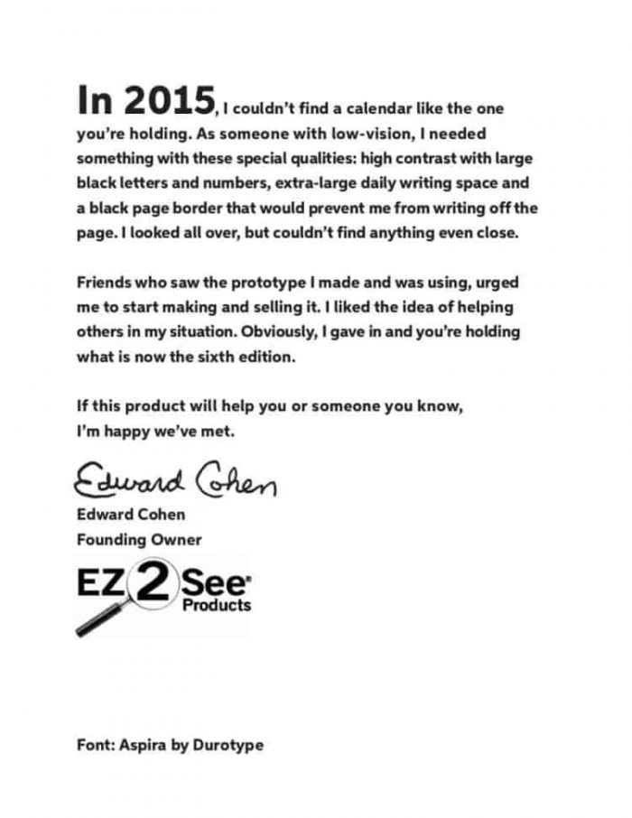 A note from Edward on the inside front cover