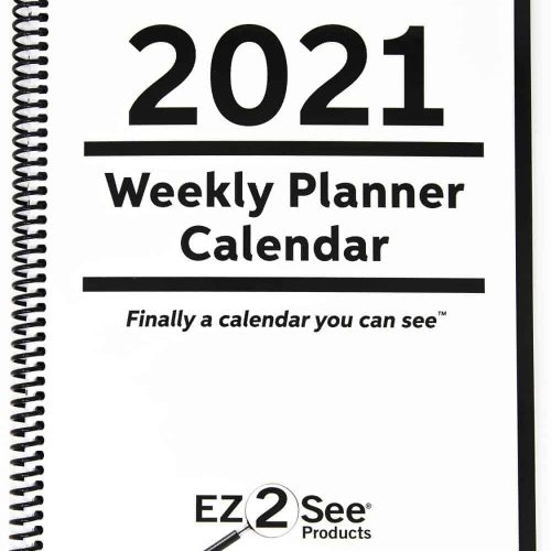 The front cover of the EZ2See Calendar, a weekly planner for 2021